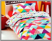 White Pink Yellow Purple Pale Turquoise Geo * 3pc DOUBLE QUILT / DOONA COVER SET
