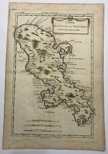 MARTINIQUE ANTILLES c. 1750 UNUSUAL ANTIQUE ENGRAVED MAP 18e CENTURY