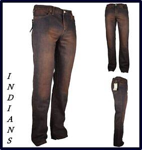 Jeans pantaloni Indian da uomo regular fit gamba dritta dritti svasati 46 48 w32