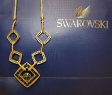 Swarovski Necklace Sparkling Dance Triple 14 k Gold Plated Medium  Crystallized