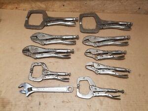 9 Vise-grip PETERSEN locking pliers  welding woodworking clamp & 1 MM Adj Wrench