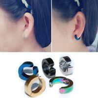 2PCS Men Punk Stainless Steel Non-Piercing Glossy Clip-on Ear Stud Hoop Earrings