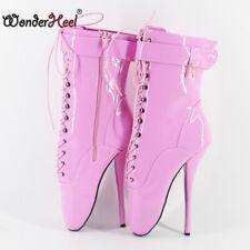 "7"" Stiletto Heel Fetish Patent Leather Clubwear Women Training Ankle Ballet Boot"