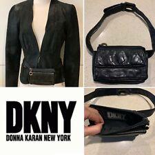 DKNY Black Leather Belted-Bag, Pouch, 2 Pockets, Belt Size Small-Med, Vintage