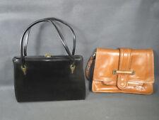 Lot de 2 anciens sacs à main de femme en cuir ou style cuir vintage