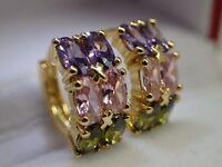 14ct 14k Yellow gold Solid Women girls Colorful Gemstone Hoop Huggie Earrings