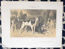 Lithographie en deux tons XIX ème - La Meute - Chien - Dog - Jadin - Cicéri