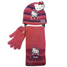 Hello Kitty Rosa 3 Pezzi Set Cappello Guanti e Sciarpa 4-8 anni 104-128cm