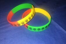 13 Silicone Wristbands Leaf Cannabis Weed Rubber Bracelet Rasta with Black Leaf