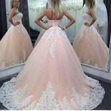 2017 Blush with White/Ivory Lace Bridal Gown Wedding dress Custom 4 6 8 10 12++
