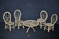 Vintage 1:12 CROCHETED WICKER Doll Furniture PATIO TABLE & 4 CHAIRS Handmade