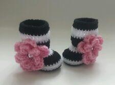 Newborn Baby Girl Flower Booties Crochet Infant shoes photo Prop Shower Gift