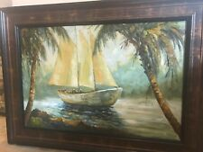 """T. Denver-""""Sailing ship""""-Original Oil Painting on Canvas, Hand Signed, Framed"""