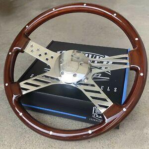 "18"" Wood Steering Wheel Chrome USA Flag Rivets Freightliner, Kenworth, Peterbilt"