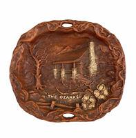 Vintage The Ozarks Faux Wood Decor Plate Ornate Souvenir By Lugene's Branson