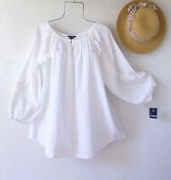 New~$77~White Eyelet Lace Peasant Blouse Ruffle Cotton Plus Size Boho Top~1X