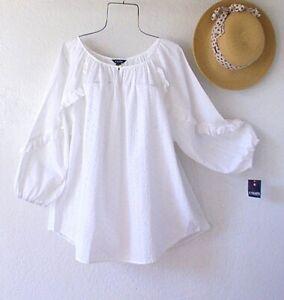 New~$77~White Eyelet Lace Peasant Blouse Ruffle Cotton Plus Size Boho Top~1X
