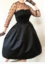 "1950s satin party dress s-m 26"" waist"