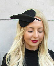 Black Statement Feather Fascinator Pillbox Races Hat Headpiece Ascot Hair 2300