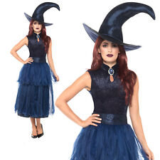Midnight Witch Costume + Hat Witches Halloween Womens Ladies Fancy Dress Outfit