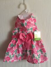 """Simply Wag Dog DRESS """"Lots of Pink Flowers Multi-Color & Pink Bow & Bling X-S"""