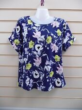 LADIES TOP BLUE MULTI SIZE 10 PRINT ABSTRACT FLORAL DETAIL BNWT