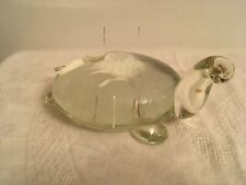 Vintage Hand Blown Heavy Clear Glass Turtle Paperweight / Animal Figurine 1 of 2