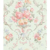 Wallpaper Designer Pink Cream Yellow Blue Green Floral Scroll Damask on Green