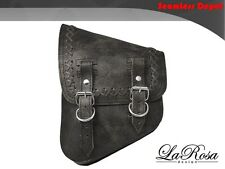 La Rosa Rustic Black Leather Lace Harley Chopper Bobber Left Saddlebag
