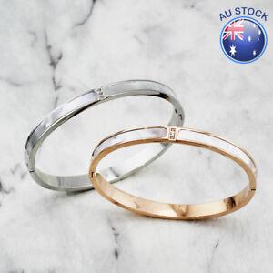 NEW Women's 18K White / Rose Gold Filled Solid Mother of Pearl Bangle Bracelet