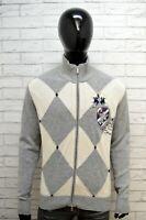 Cardigan Maglione Uomo La Martina Taglia XL Felpa Pullover Grigio Sweater Lana