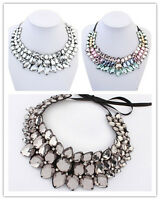 Luxurious Statement Gem Bib Chunky Collar Party Jewelry Pendant Chain Necklace