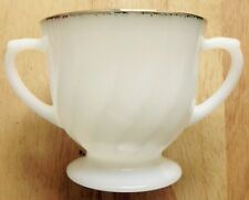 WHITE MILK GLASS SUGAR BOWL, FIRE KING OVEN WARE, GOLD RIM, MADE IN USA, VINTAGE