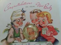 1940-50s Vtg GYPSY Fortune Teller BABY in Crystal Ball CONGRATS GREETING CARD