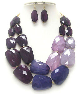 CHUNKY Multi  Acrylic Stone Deep Purple Light Purple Shades Double Necklace Set
