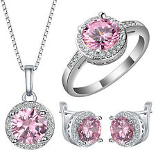 Elegant Women Silver Pink Sapphire Ring Necklace Earrings Wedding Jewelry Sets