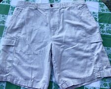 CUBAVERA Men's Size 38 Linen Cotton Cargo Shorts Solid Beige Tan Lightweight