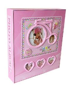 Baby girls Pink Photo Album Baby Shower Gift Holds 80 Prints 4 X 6