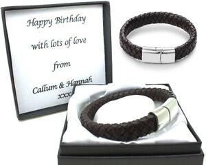 Mens Brown Leather Bracelet FREE Engraving Personalised Valentines Birthday Gift