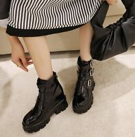 Womens Black Patent Leather Round Toe High Hidden Heels Platform Ankle Boots NEW