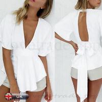 Fashion Sexy Women Lady Backless Slim Blouse Tops T Shirt V Neck Free Shipping