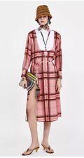 ZARA Pink Midi Contrasting Checked Shirt Dress Size S BNWT **BLOGGERS FAV**