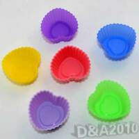 Lot 10 Heart Shape Silicone Chocolate Mould Candy Muffin Cup Cake Baking Molds