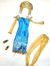 Barbie Outfit/Costumes Turquoise Dress Gown Indonesian For Barbie Doll hf11