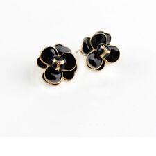 Boucles d'Oreilles Clous Doré Puces Fleur Rose Email Noir Retro NN6