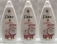LOT OF 3 DOVE COCONUT MILK WITH JASMINE PETALS BODY WASH 750 ML / 25.3 OZ