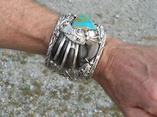 NAVAJO TURQUOISE SILVER FAUX BEAR CLAW BRACELET OLD PAWN