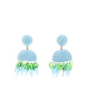 RRP €250 REBECCA DE RAVENEL Silk Chandelier Earrings HAND EMBROIDERED Charms