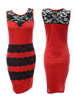 Womens Size 8 10 12 14 New Red Sleeveless Dress Sexy Black lace Ladies *LICK*