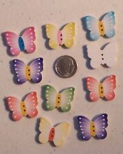 Lot of 10 BUTTERFLY 2-hole Wood Buttons 20mm x 24mm Scrapbook Craft (1000) 3/4""